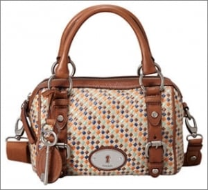 Fossil Handbag, Maddox Straw Small Satchel