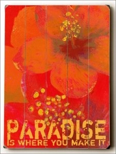 Paradise Wooden Art Sign
