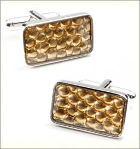 Gold Pebble Rectangle Cufflinks