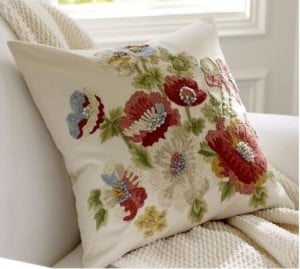 Vintage Floral Embroidered Pillow Cover