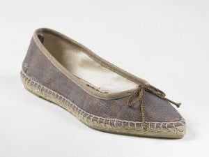 Ballet-Style Espadrille in Metallic Canvas