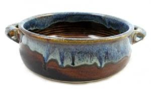 Earthy Blue Glaze Stoneware Baker