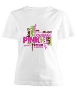 Pink Ribbon Word Cloud T-Shirt
