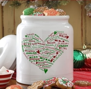 Heart of Love Personalized Christmas Cookie Jar