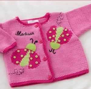 Ladybug Love Embroidered Handknit Sweater