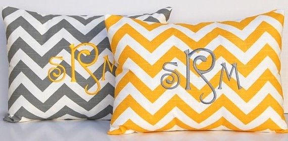 Monogrammed Chevron Pillow
