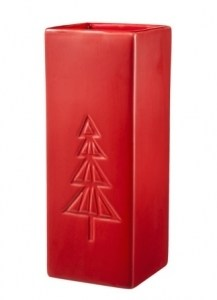 Tall Red Embossed Vase