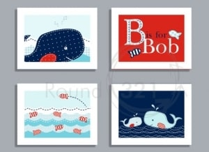 Personalized Whale Prints, Set of Four