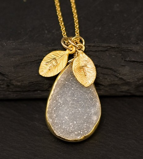 Personalized White Agate Druzy Necklace