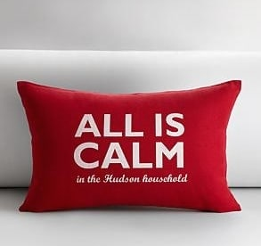 personalized all is calm throw pillow