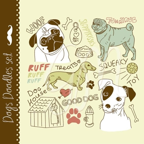 24 Dog-Themed Clip Art Elements