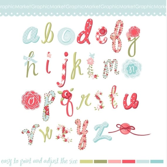 Hand drawn floral Alphabet Digital Collage Sheet