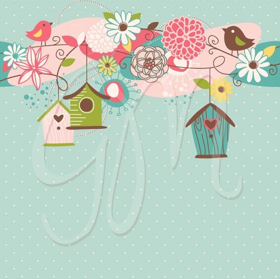 Flowers and Birdhouses Digital Artwork