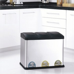 Three Compartment Step-On Recycling Bin
