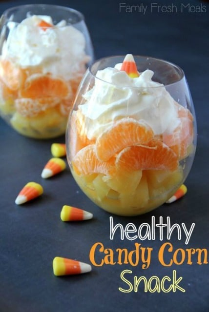 Candy Corn Fruit Cocktail from Family Fresh Meals | Spookalicious Halloween Treats