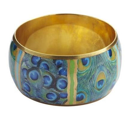 Peacock Enamel Bronze Bangle | Vibrant Fall Colors | The Mindful Shopper