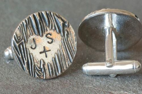 Personalized Sterling Silver Wooden Heart Cufflinks