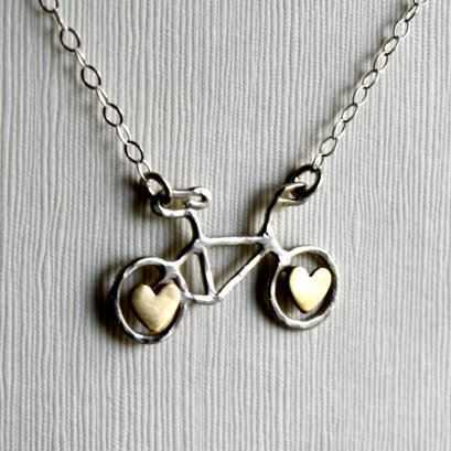 Sterling Silver Bike with Brass Hearts