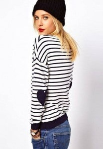 Striped Heart Elbow Patch Sweater | The Mindful Shopper | Valentine's Day Picks