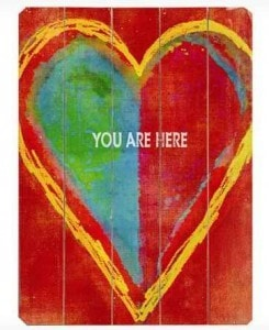 You Are Here Heart Wood Sign | The Mindful Shopper | Valentine's Day Picks