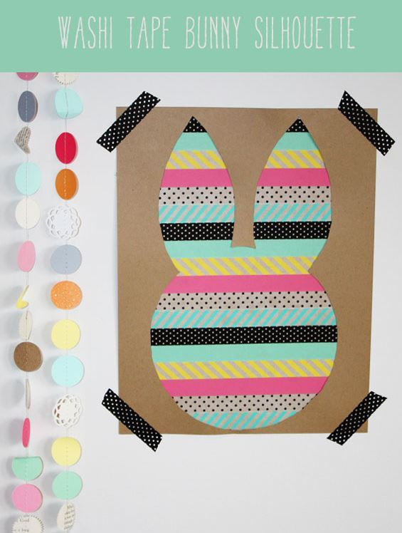 Washi Tape Bunny Silhouette from Craft-O-Maniac