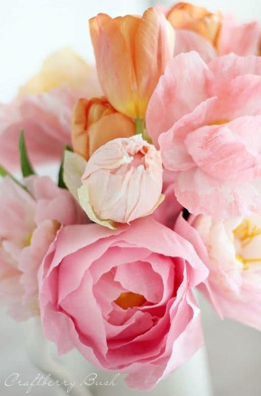 Crepe Peony Tutorial from Craftberry Bush
