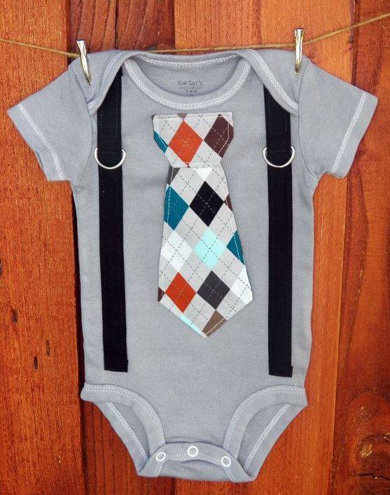 Grey Argyle Tie and Suspenders Onesie | Adorable Baby Onesies