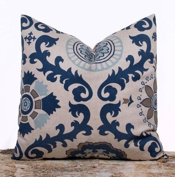 Indigo Blue Throw Pillow Cover from Lily Pillow | The Mindful Shopper