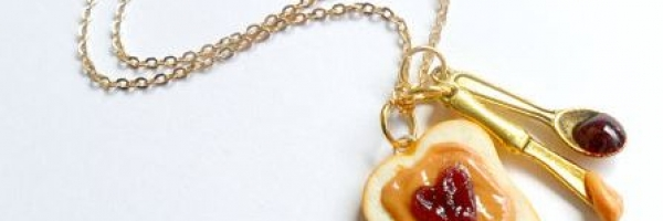 Handmade Peanut Butter and Jelly Heart Necklace