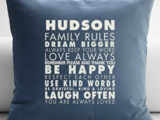 Personalized Family Rules Throw Pillow Cover