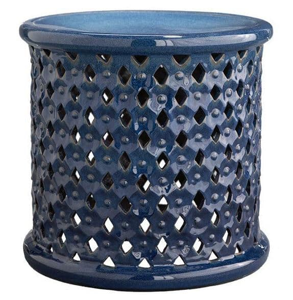 Ceramic Blue Stool