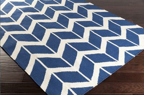 Wool Sapphire and Winter White Rug