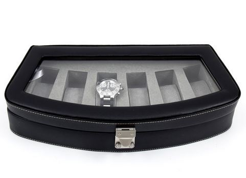 6-Piece Black Leather Watch Case
