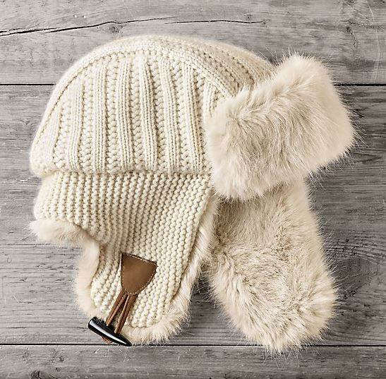 Cashmere Wool Ushanka Hat With Ultra Faux Fur Trim