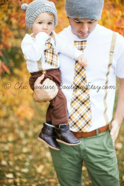 Dad and Baby Tie and Suspenders Shirt Set from Chic Couture