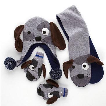 Dog Hat, Scarf, & Mittens