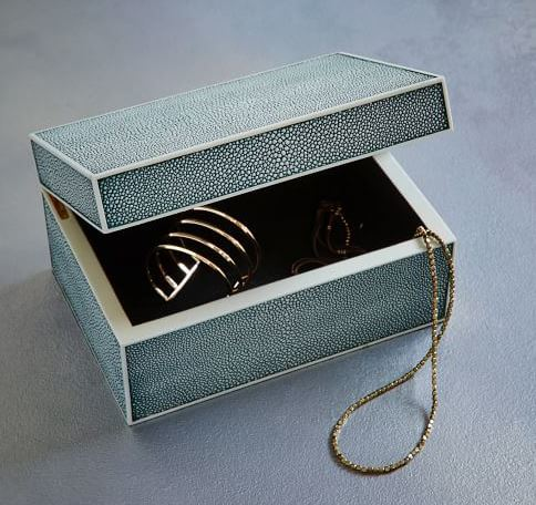 Faux Shagreen Blue Lagoon Box