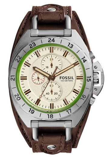 Fossil Chronograph Brown Leather Saddle Strap Watch