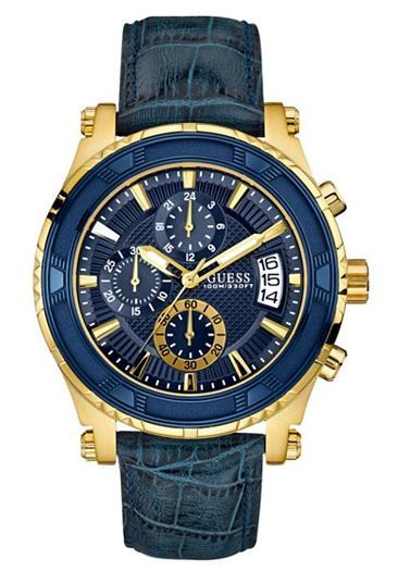 GUESS Chronograph Blue Croc-Embossed Leather Strap Watch