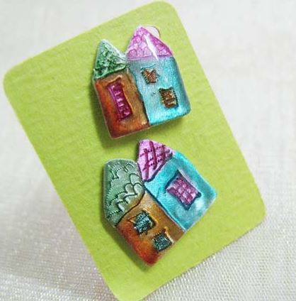 Handmade House Earrings