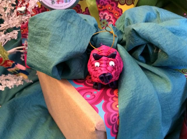 Colorful Bow and Pig Gift Wrap | The Mindful Shopper