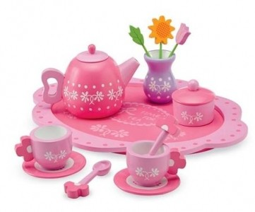 Wooden Floral Tea Set