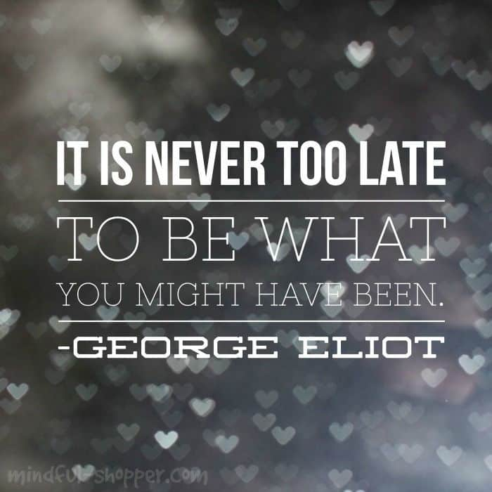 It Is Never Too Late Quote | The Mindful Shopper