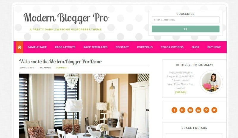 Modern Blogger Pro Theme from Pretty Darn Cute Design