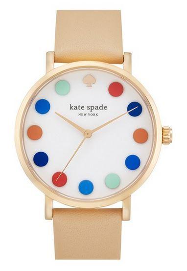 Kate Spade Metro Dot Dial Leather Strap Watch