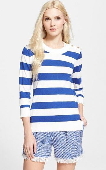 Stripe Sweater and Tweed Shorts | Spring and Summer Fashion from Kate Spade