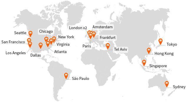 Locations of MaxCDN Servers   Courtesy of MaxCDN.com