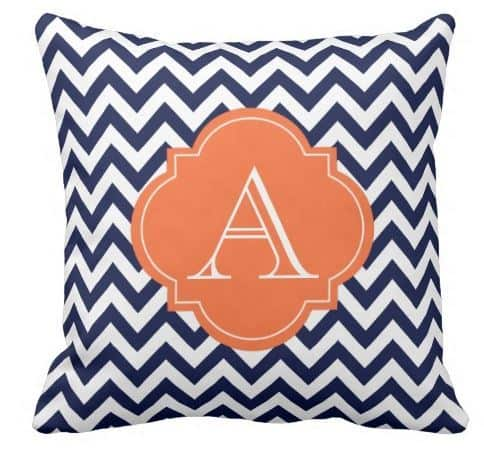 Blue and White Chevron Monogram Pillow