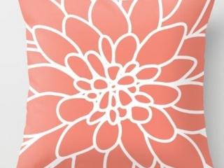 Coral Dahlia Flower Indoor/Outdoor Pillow Cover ($20)