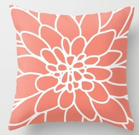 Coral Dahlia Flower Indoor/Outdoor Pillow Cover ($20)